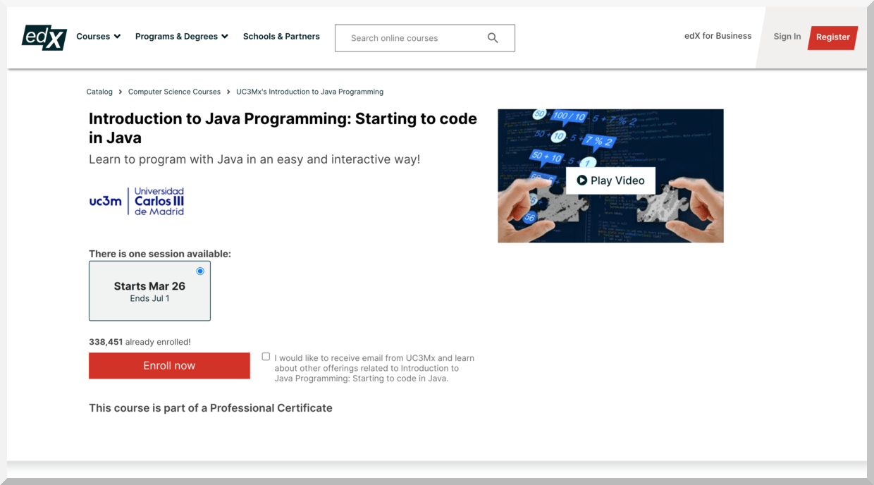Introduction to Java Programming- Starting to Code in Java – edX