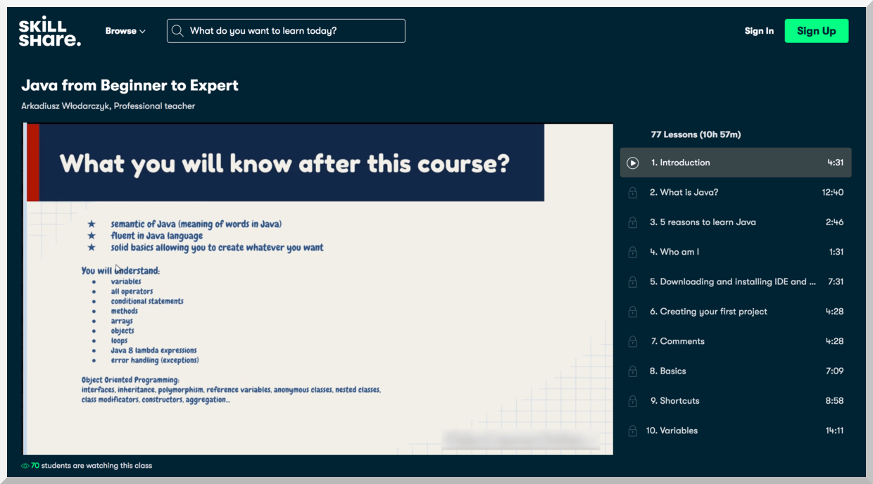 Java from Beginner to Expert – Skillshare