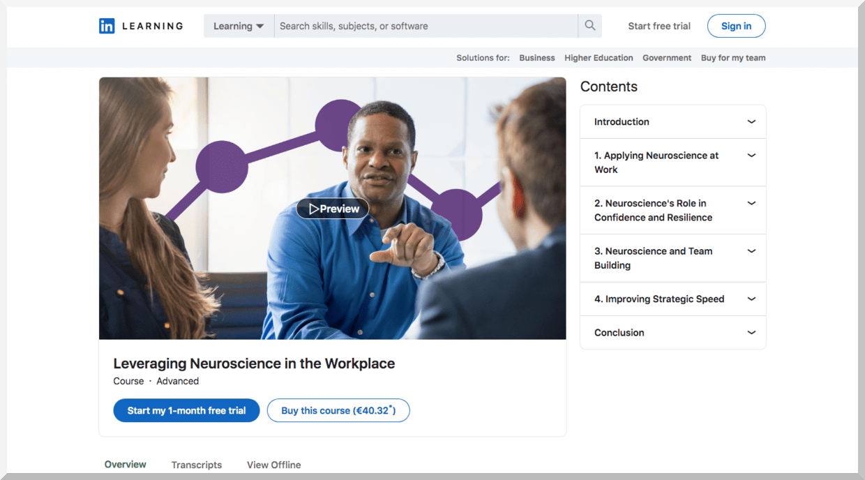 Leveraging Neuroscience in the Workplace – LinkedIn Learning