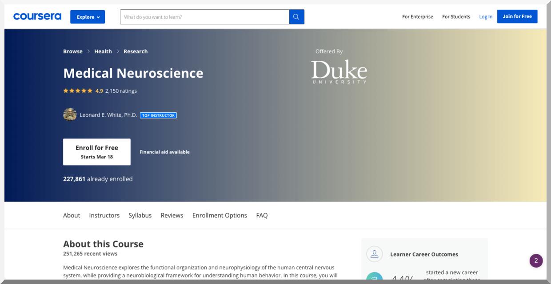 Medical Neuroscience – Coursera