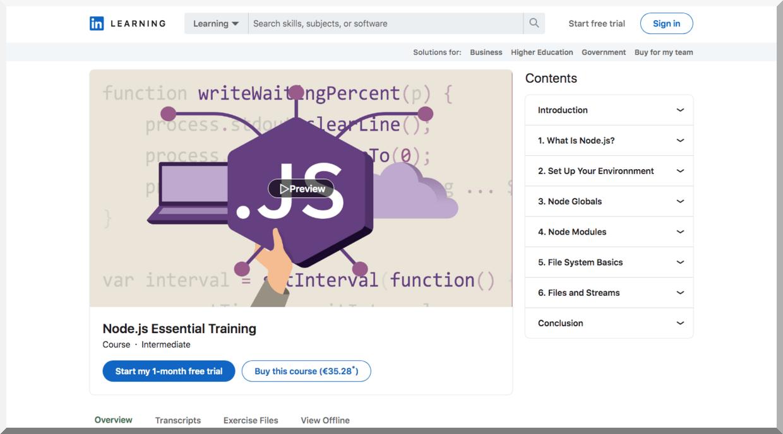 Node.js Essential Training – LinkedIn Learning