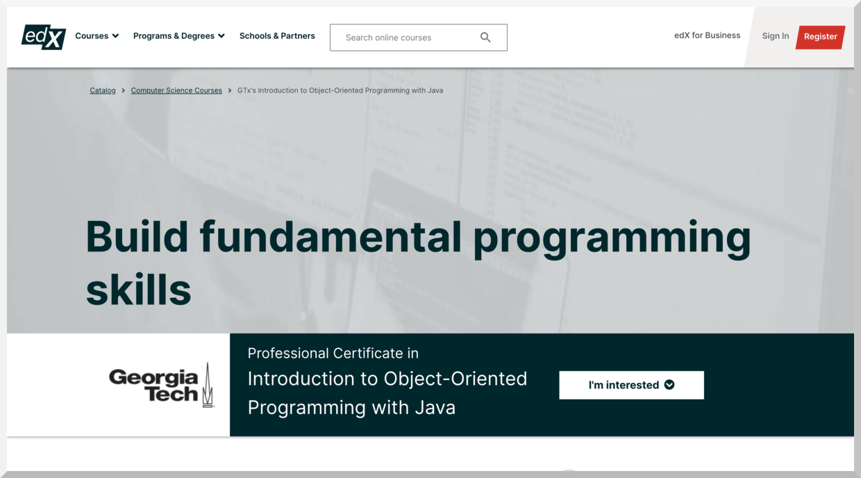 Professional Certificate in Introduction to Object-Oriented Programming with Java – edX