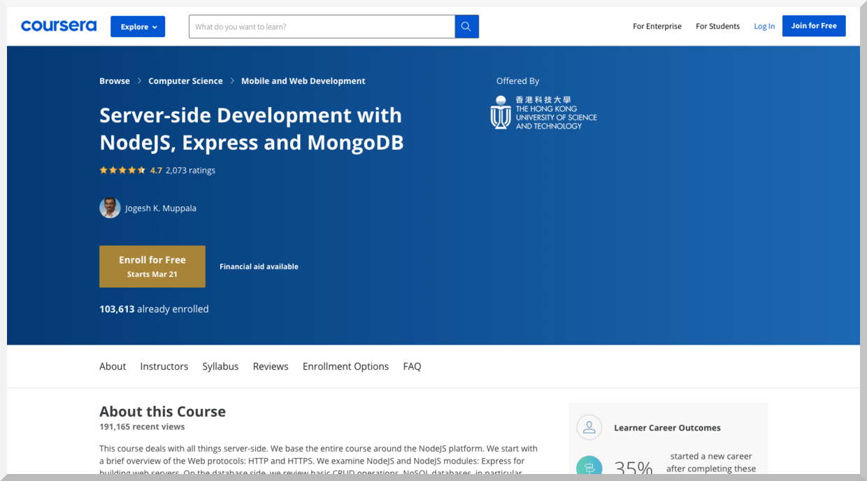 Server-Side Development with Node.js, Express, and MongoDB – Coursera