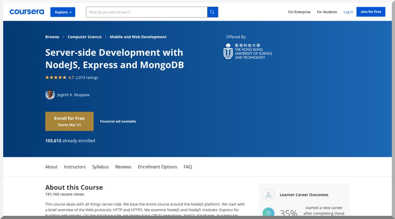 Server-Side Development with Node.js, Express, and MongoDB – Coursera