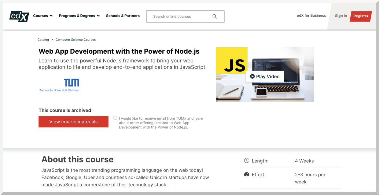 Web Development with the Power of Node.js – edX