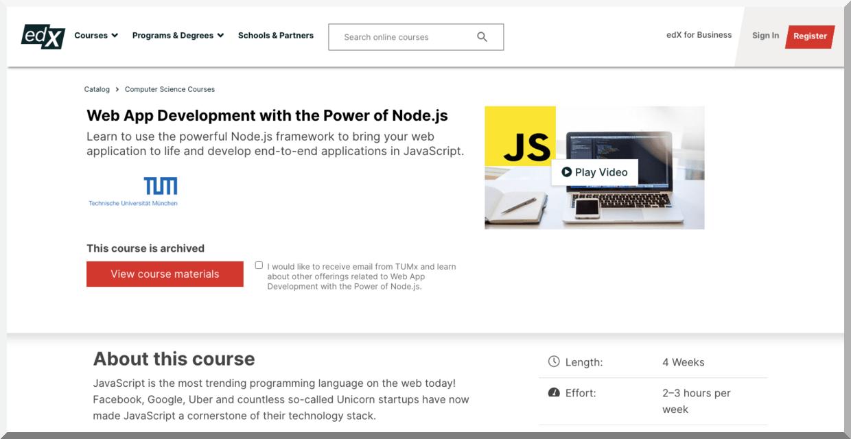 Web Development with the Power of Node.js – edX