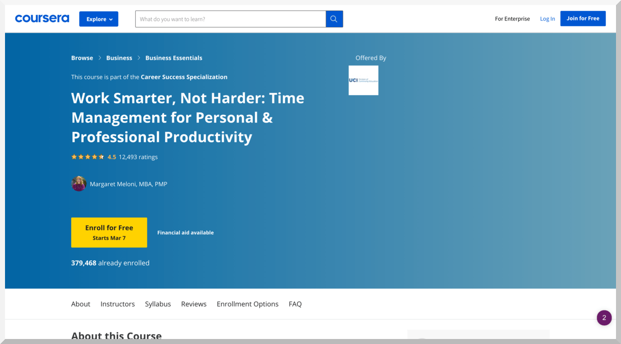 Work Smarter, Not Harder- Time Management for Personal & Professional Productivity – Coursera