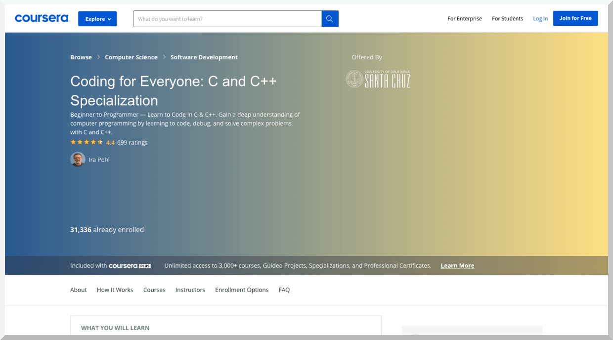 Coding for Everyone- C and C++ Specialization – Coursera