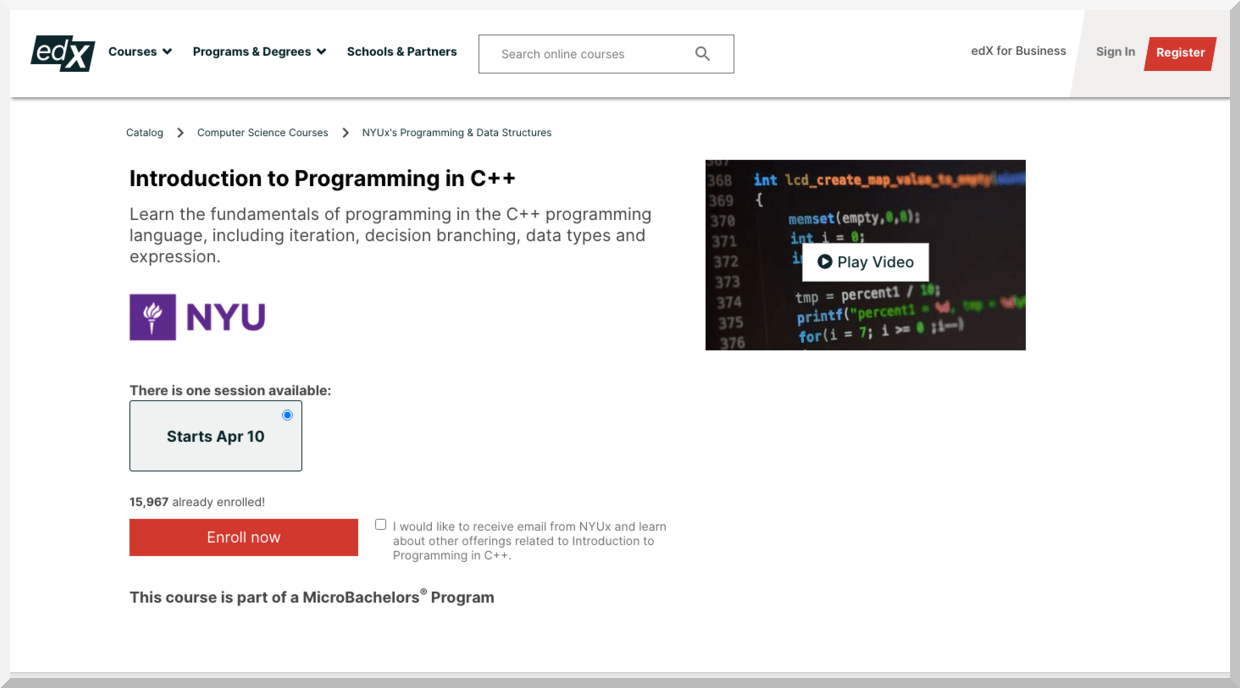 Introduction to Programming in C++ – edX