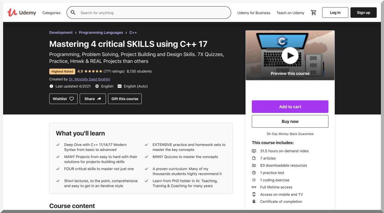 Mastering 4 Critical Skills Using C++17 – Udemy