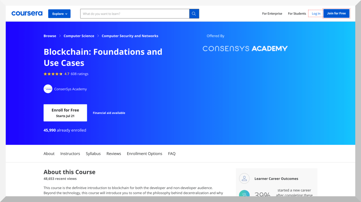 Blockchain- Foundations and Use Cases – Coursera