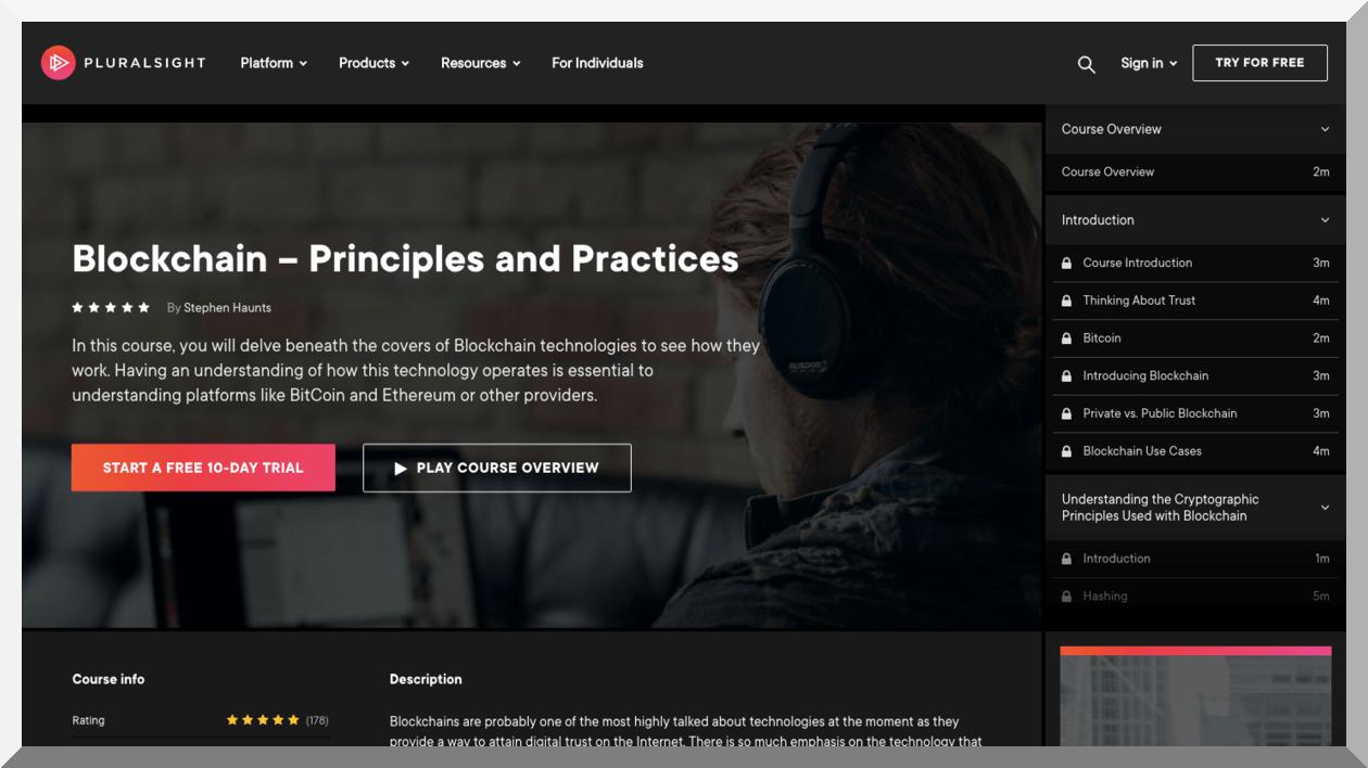 Blockchain Principles and Practices – Pluralsight