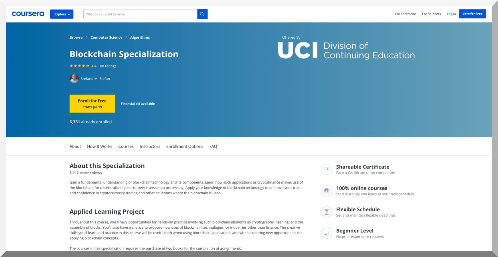 Blockchain Specialization – UCI – Coursera