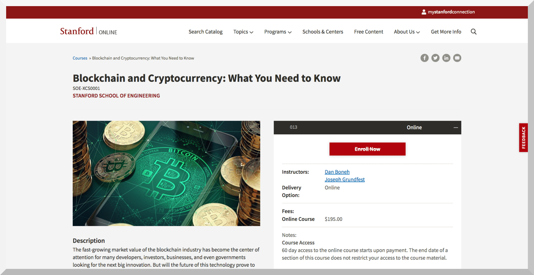 Blockchain and Cryptocurrency – Stanford University
