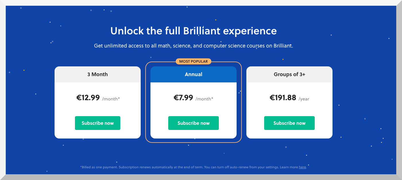 Brilliant.org Pricing Model