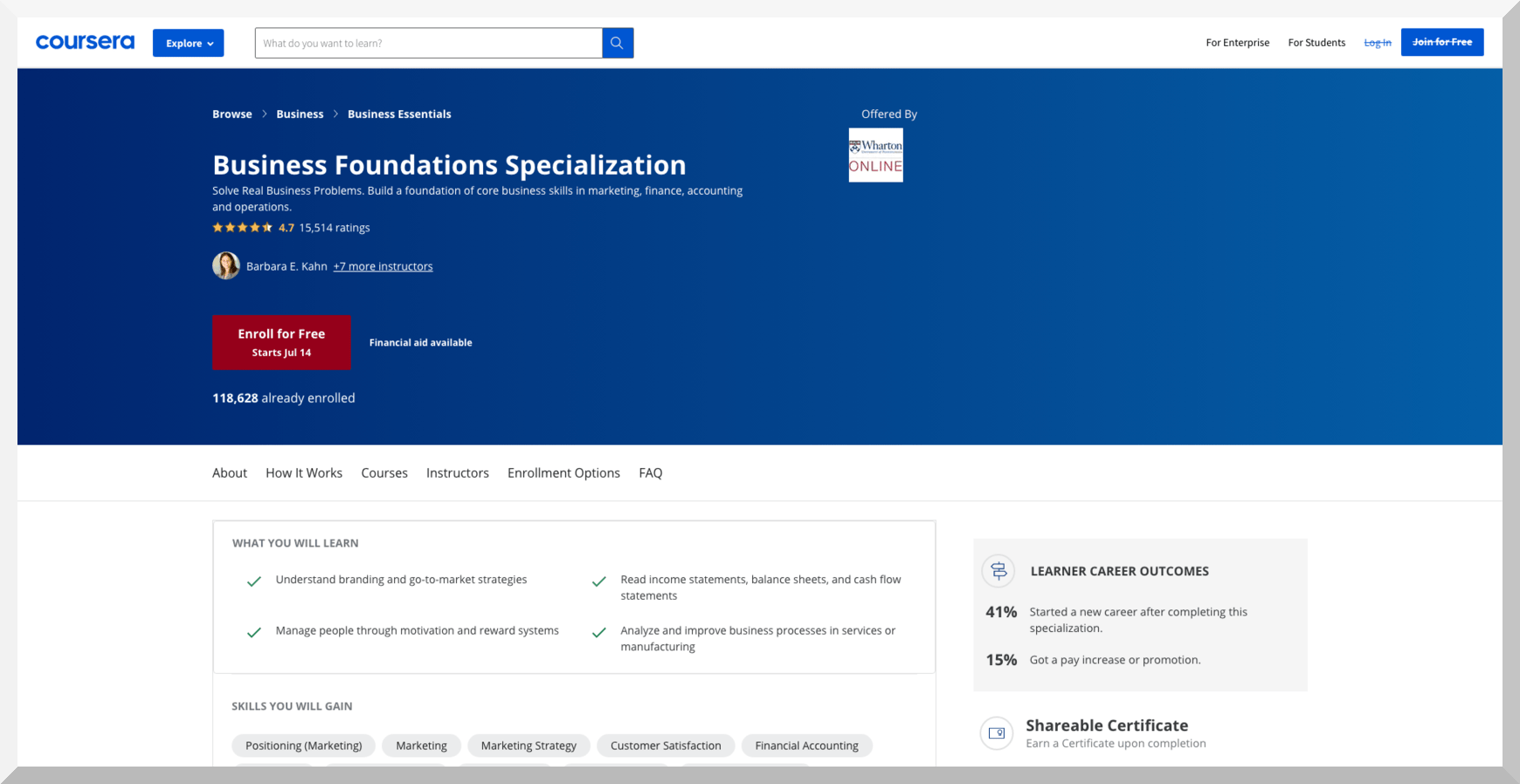 Business Foundations Specialization - Coursera