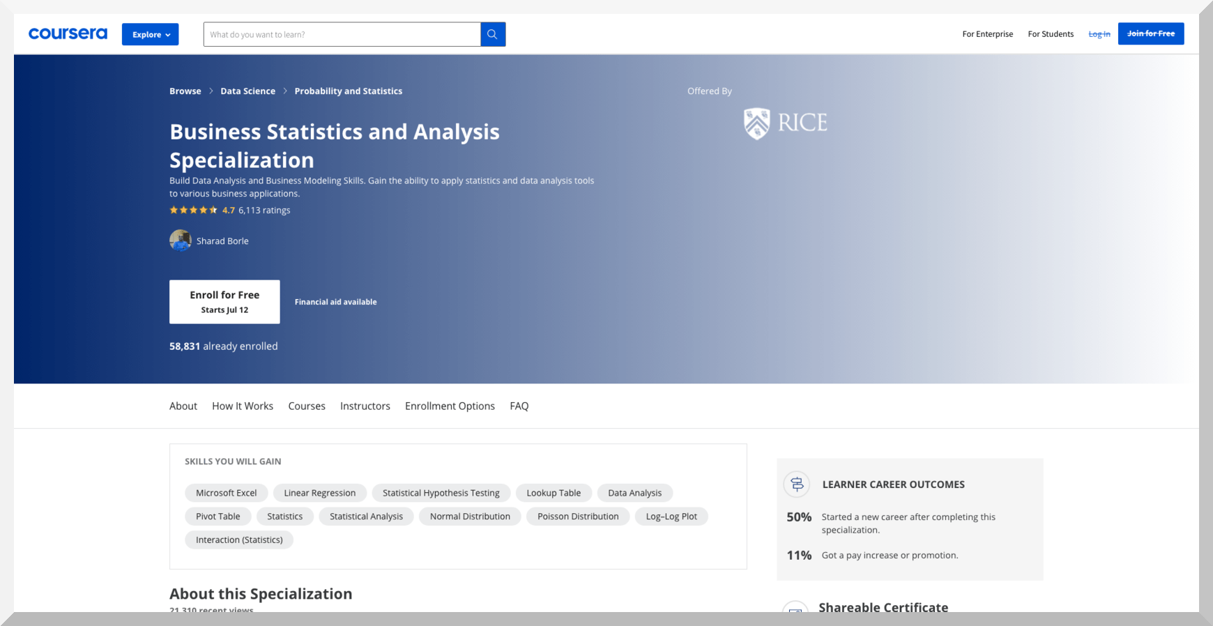 Business Statistics and Analysis Specialization - Coursera