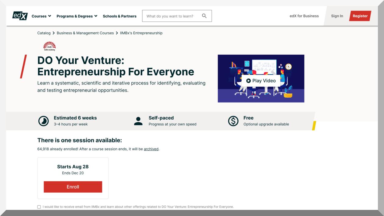 DO Your Venture- Entrepreneurship for Everyone – edX