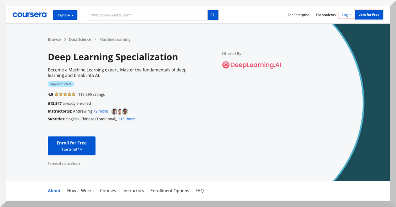 Deep Learning by deeplearning.ai - Coursera