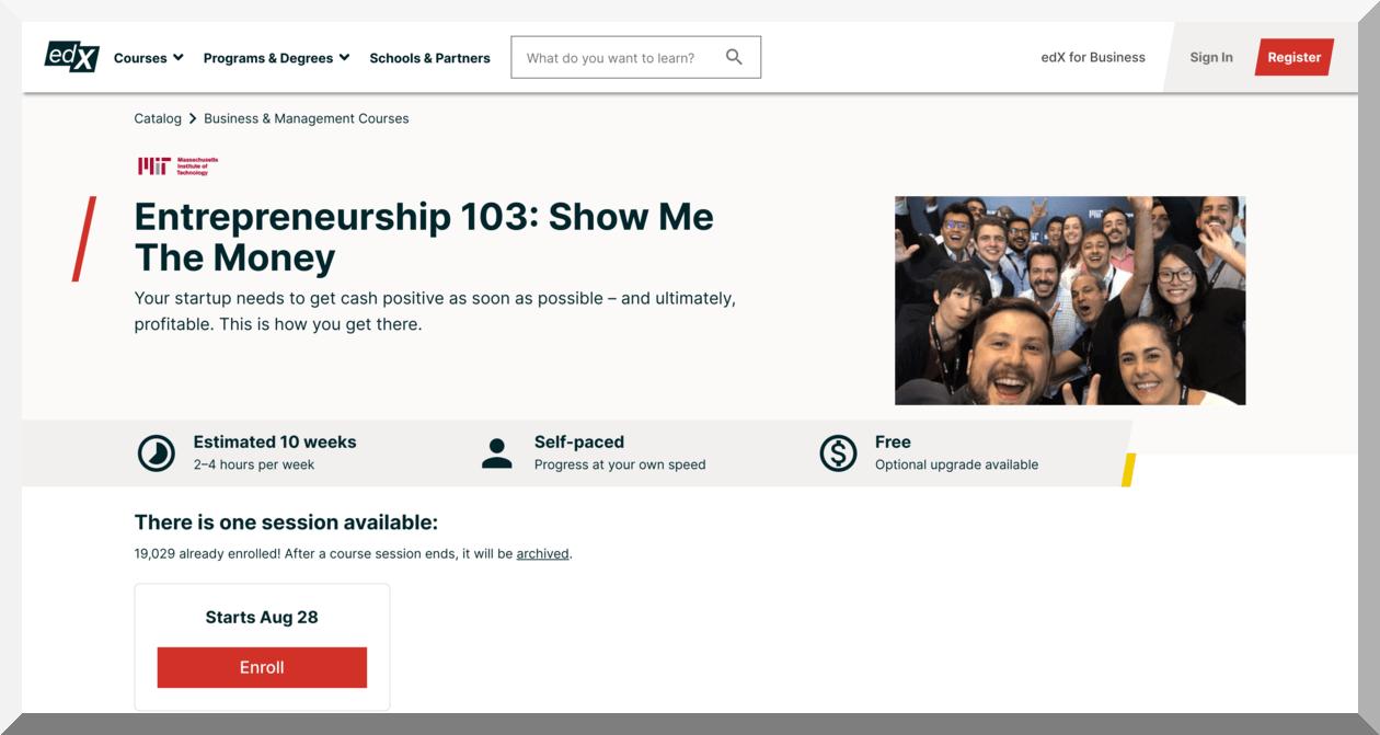 Entrepreneurship 103- Show Me the Money – Massachusetts Institute of Technology