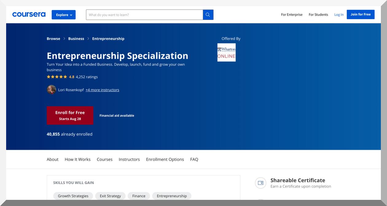 Entrepreneurship Specialization – Coursera