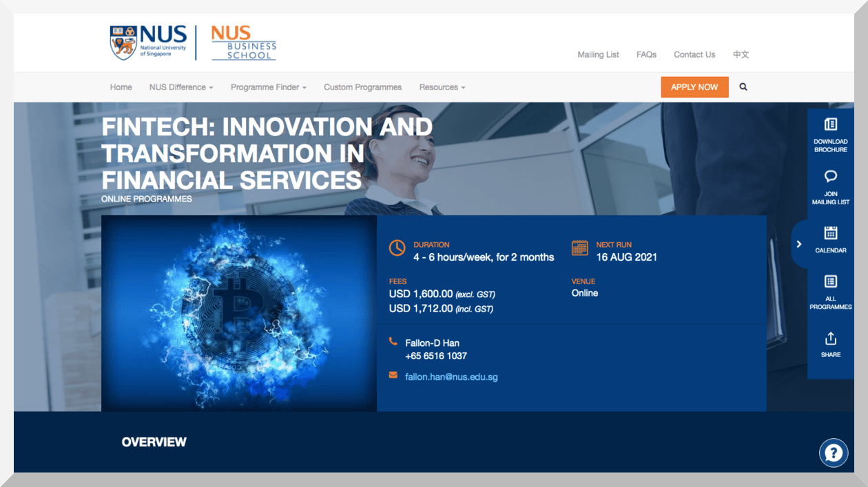 Fintech- Innovation and Transformation in Financial Services – NUS Business School