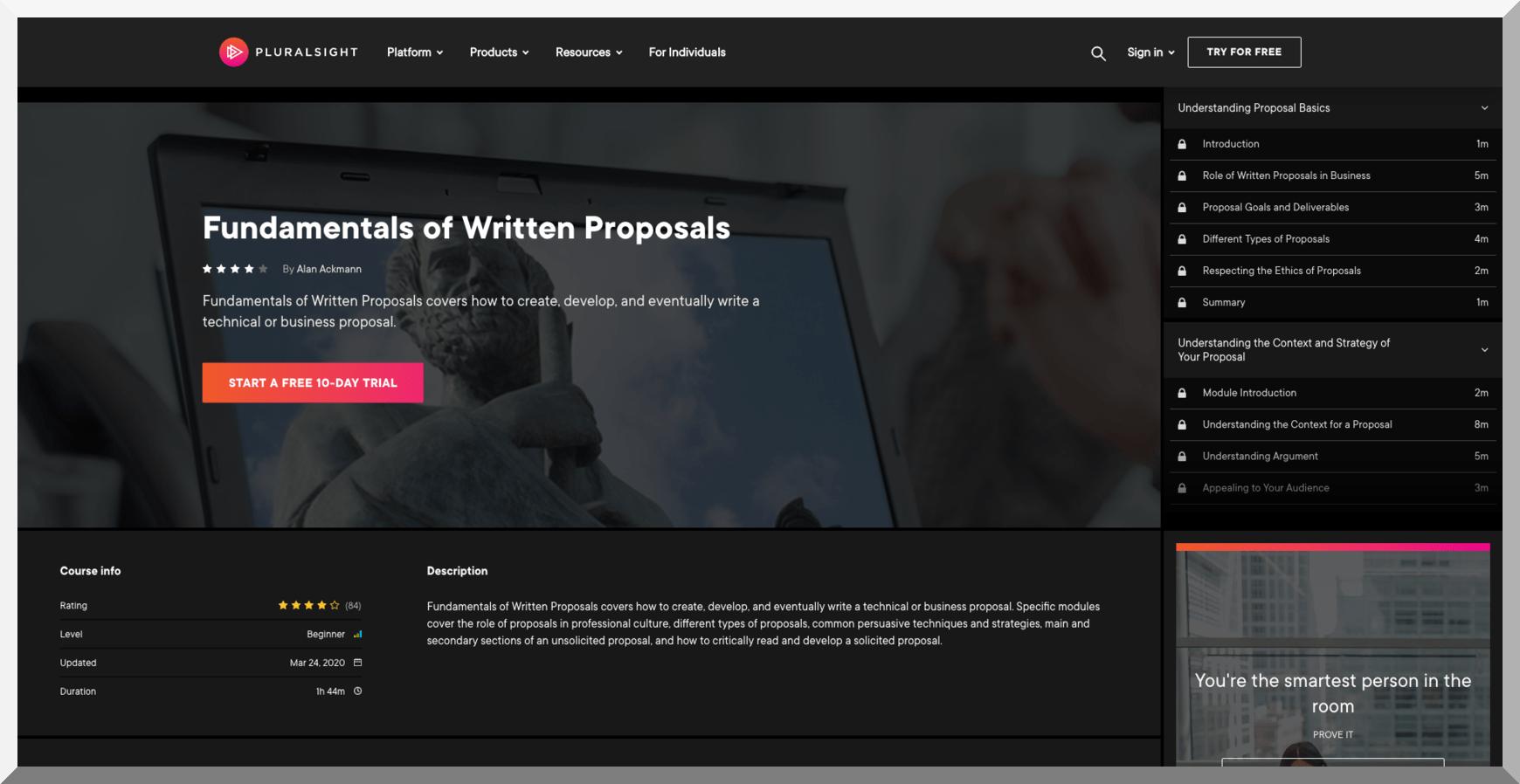 Fundamentals of Written Proposals – Pluralsight