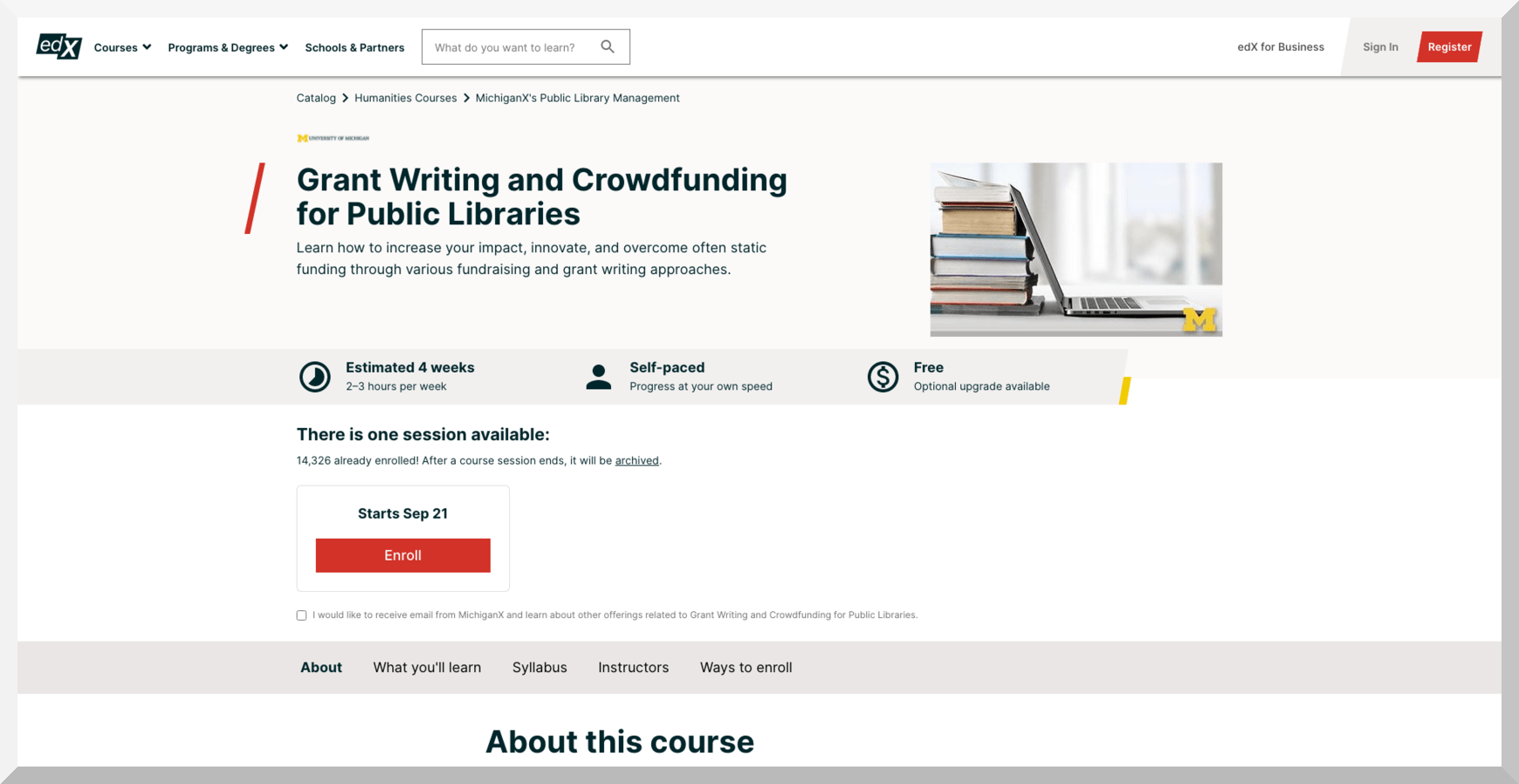 Grant writing and Crowd Funding for Public Libraries – edX