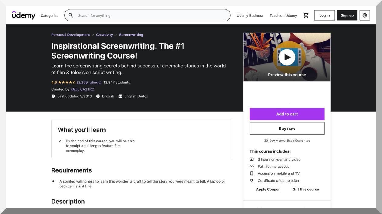 Inspirational Screenwriting. The #1 Screenwriting Course! - Udemy