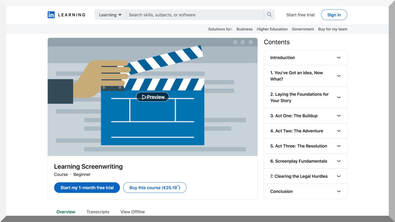 Learning Screenwriting – LinkedIn Learning