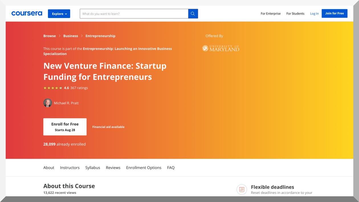 New Venture Finance- Startup Funding for Entrepreneurs – Coursera