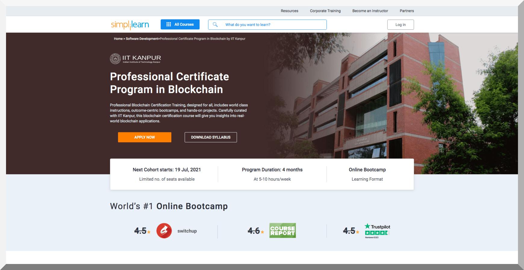 Professional Certificate Program in Blockchain - Simplilearn