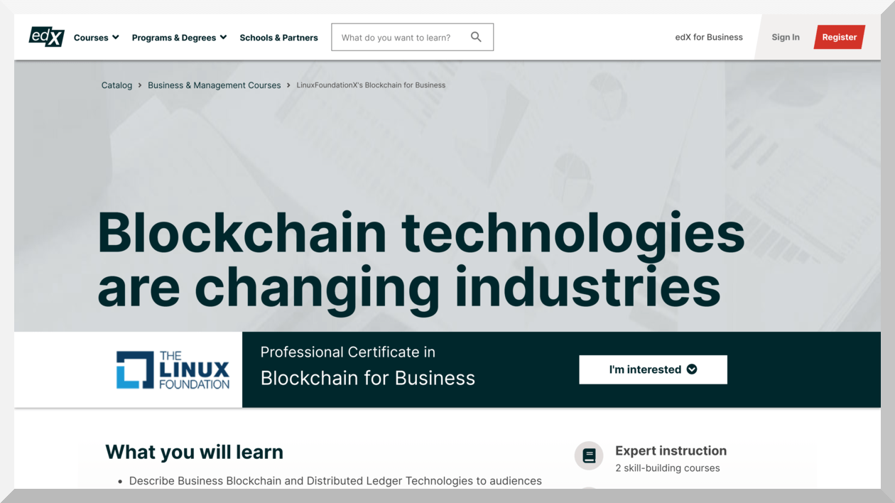 Professional Certificate in Blockchain for Business – edX