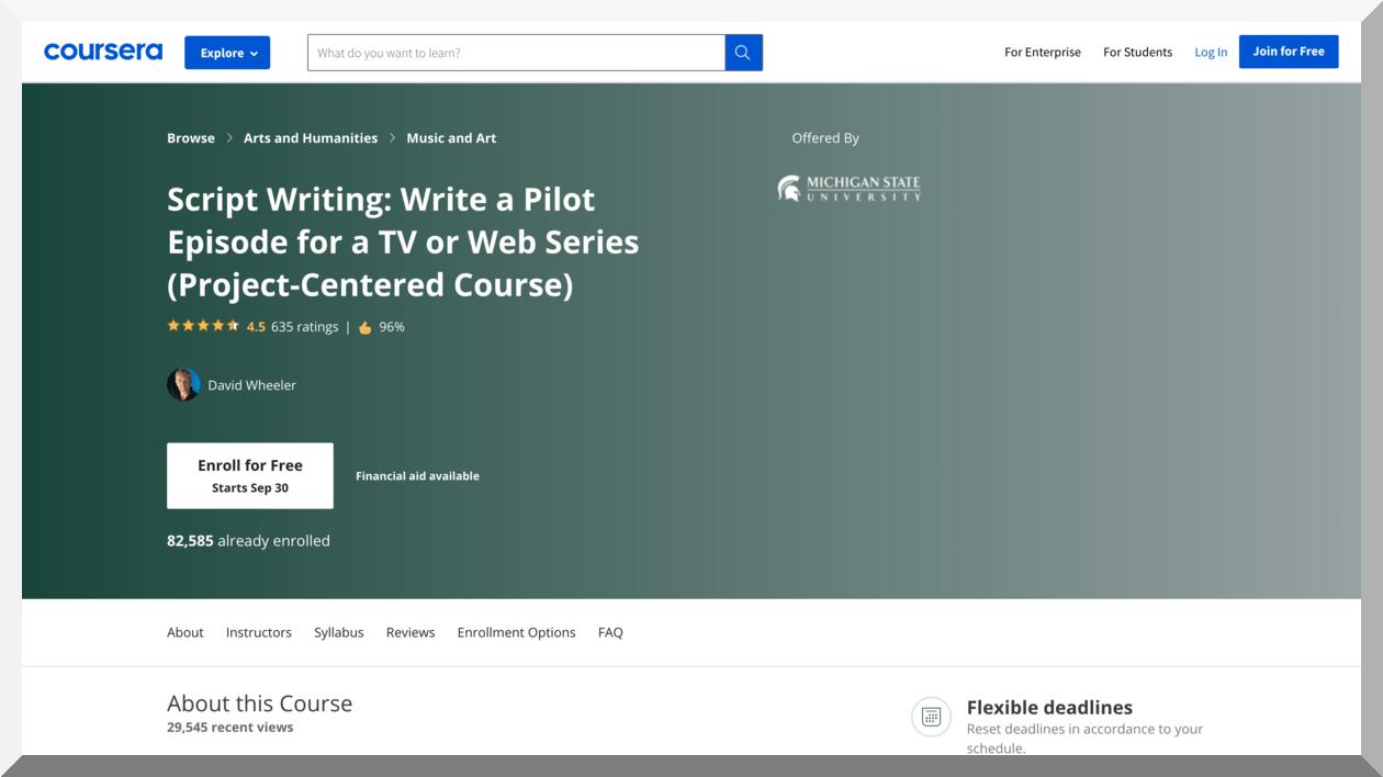 Scriptwriting- Write a Pilot Episode for a TV or Web Series – Coursera