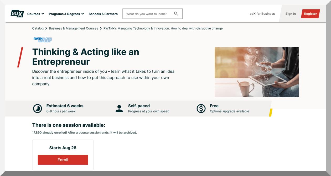 Thinking & Acting like an Entrepreneur – RWTH Aachen University – edX