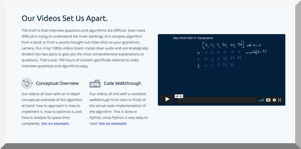 AlgoExpert Features