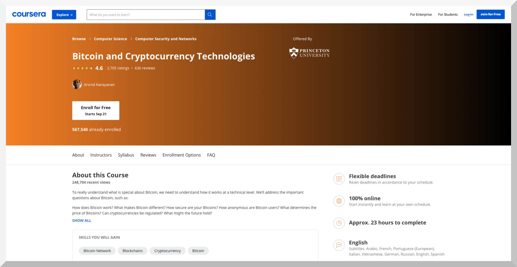 Bitcoin and Cryptocurrency Technologies – Princeton University – Coursera