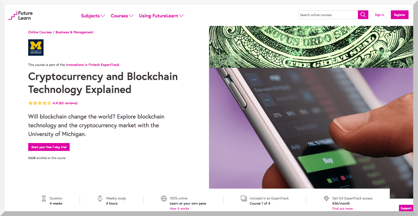 Cryptocurrency and Blockchain Technology Explained – University of Michigan – Futurelearn