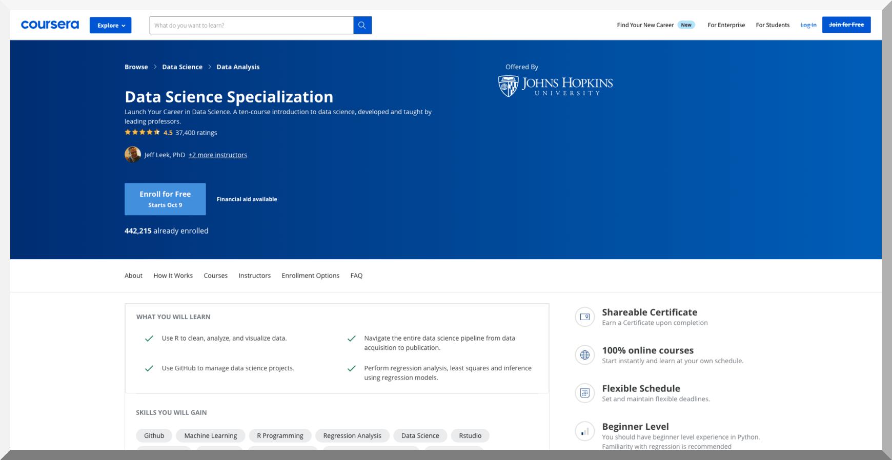 Data Science Specialization – Johns Hopkins University – Coursera