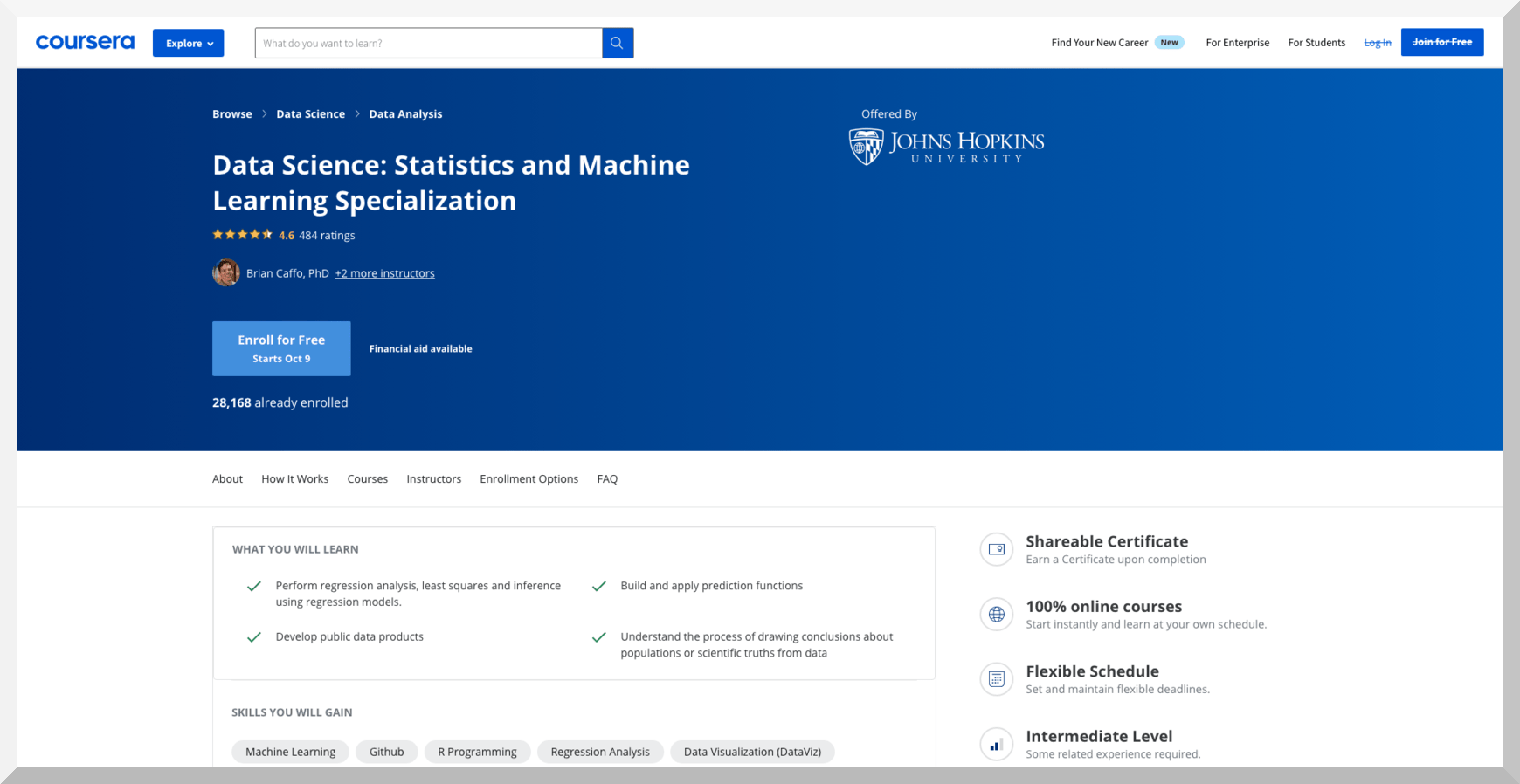 Data Science- Statistics and Machine Learning Specialization – Coursera