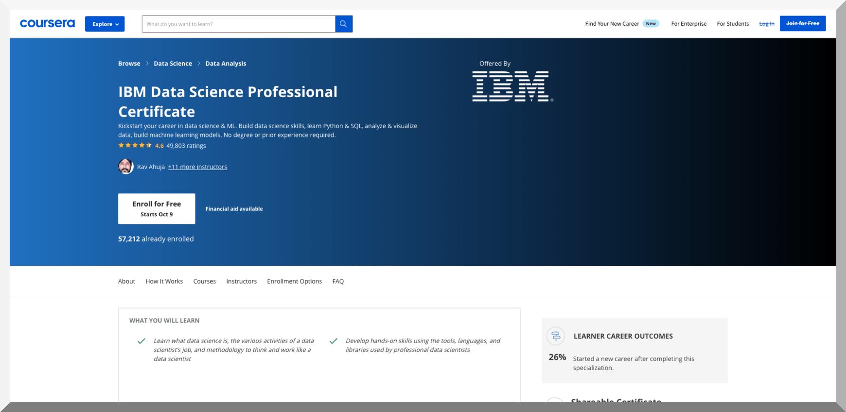 IBM Data Science Professional Certificate – Coursera