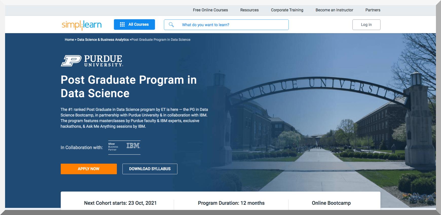Post Graduate Program in Data Science – Purdue University – Simplilearn