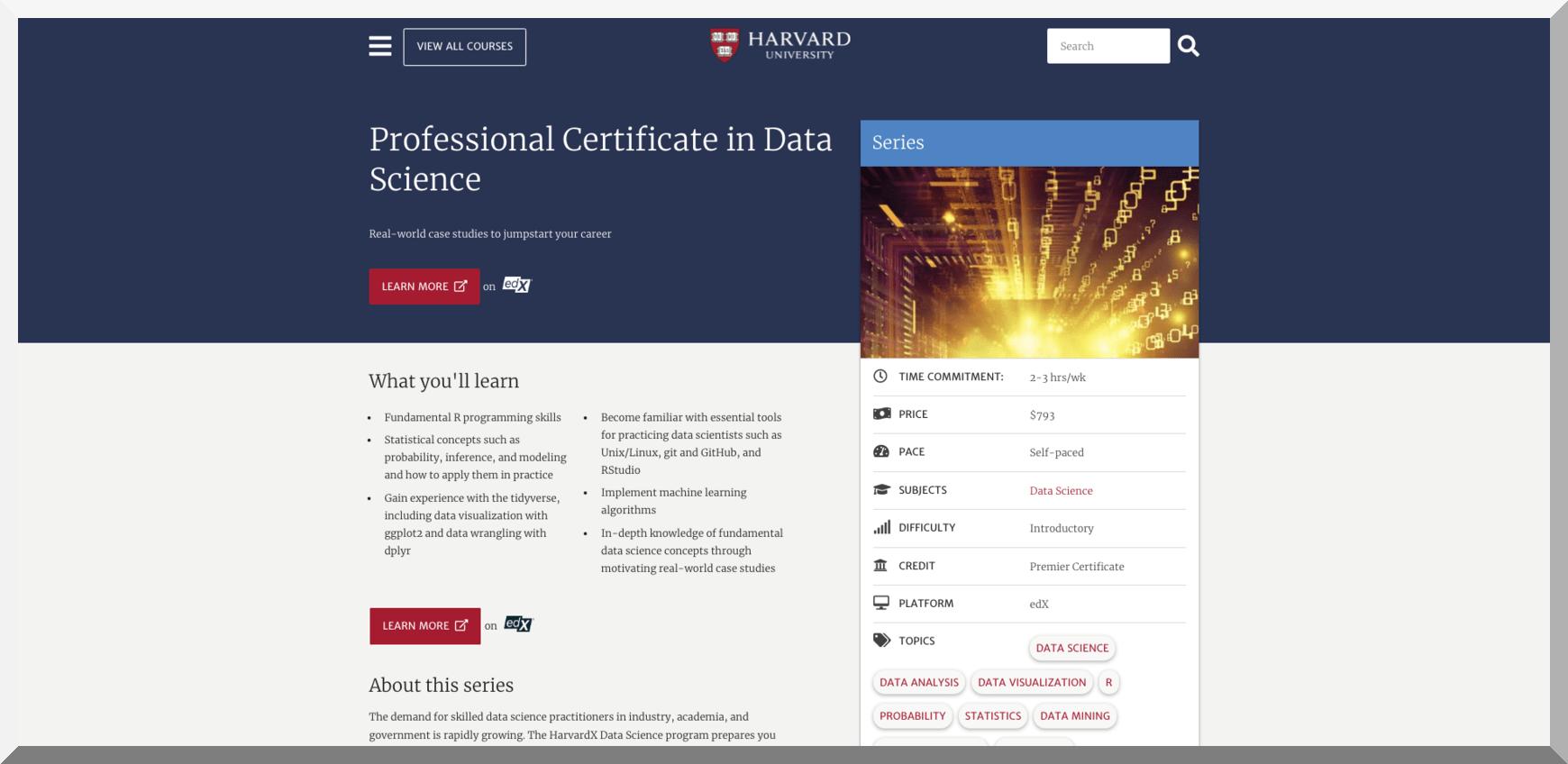 Professional Certificate in Data Science – Harvard University – edX