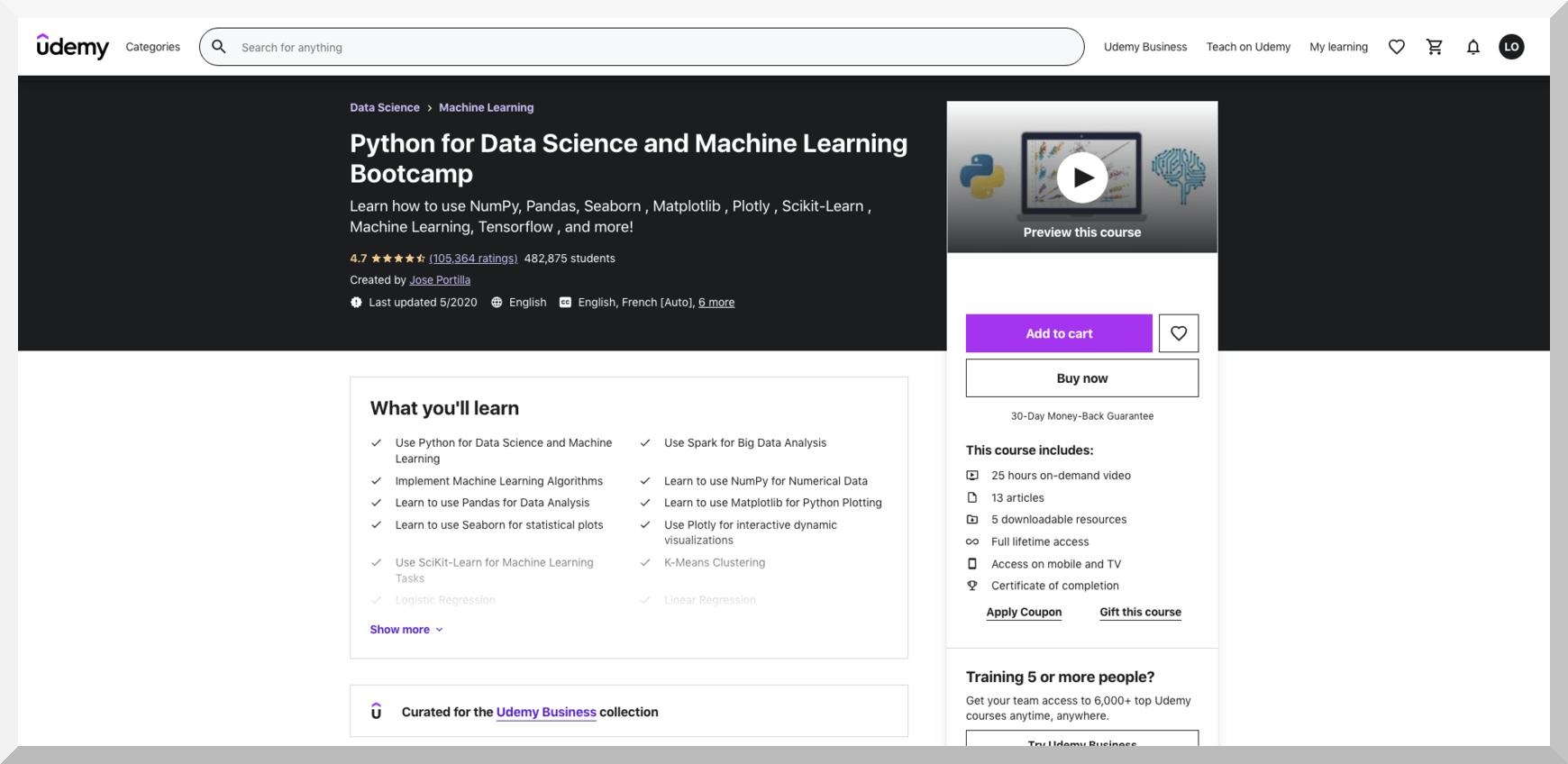 Python for Data Science and Machine Learning Bootcamp – Udemy