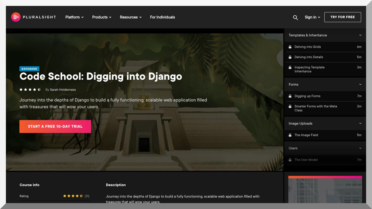 Code School- Digging into Django – Pluralsight