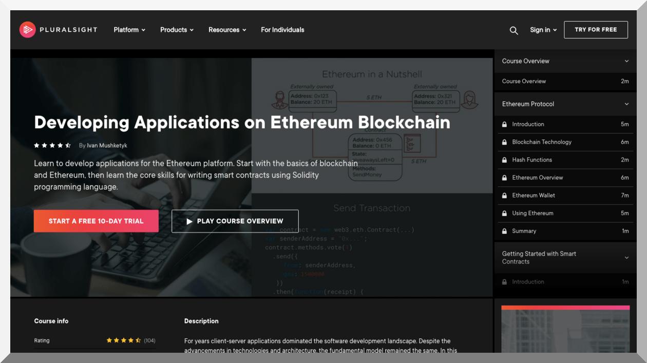 Developing Applications on Ethereum Blockchain – Pluralsight