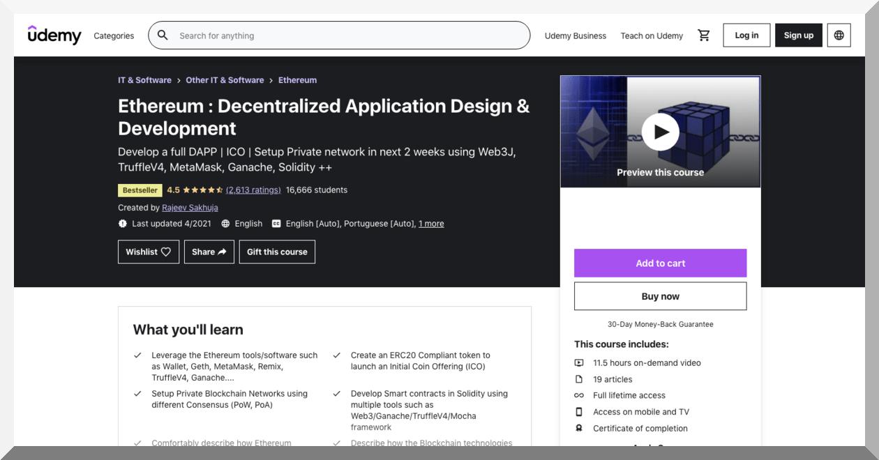Ethereum- Decentralized Application Design and Development – Udemy