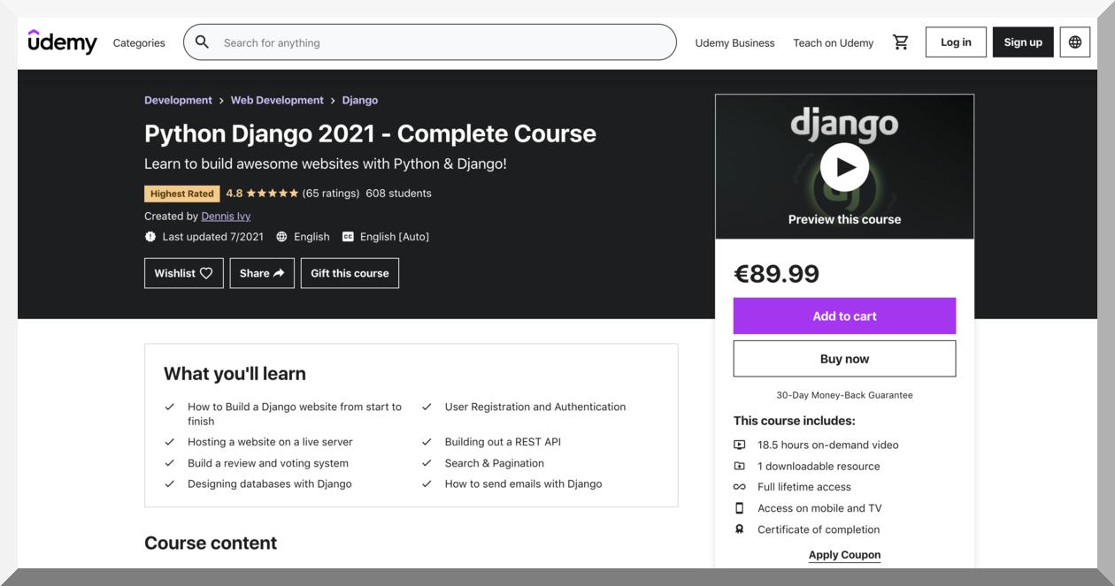 Python Django 2021 – Udemy