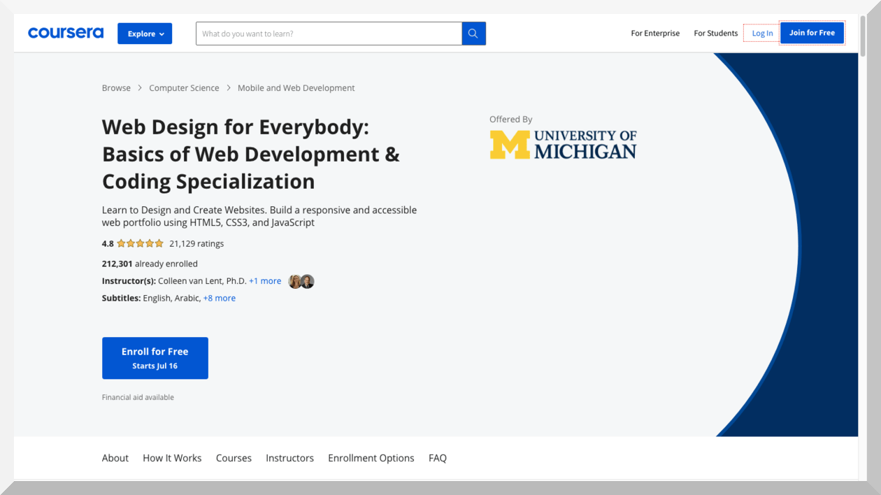 Web Design for Everybody- Basics of Web Development & Coding Specialization
