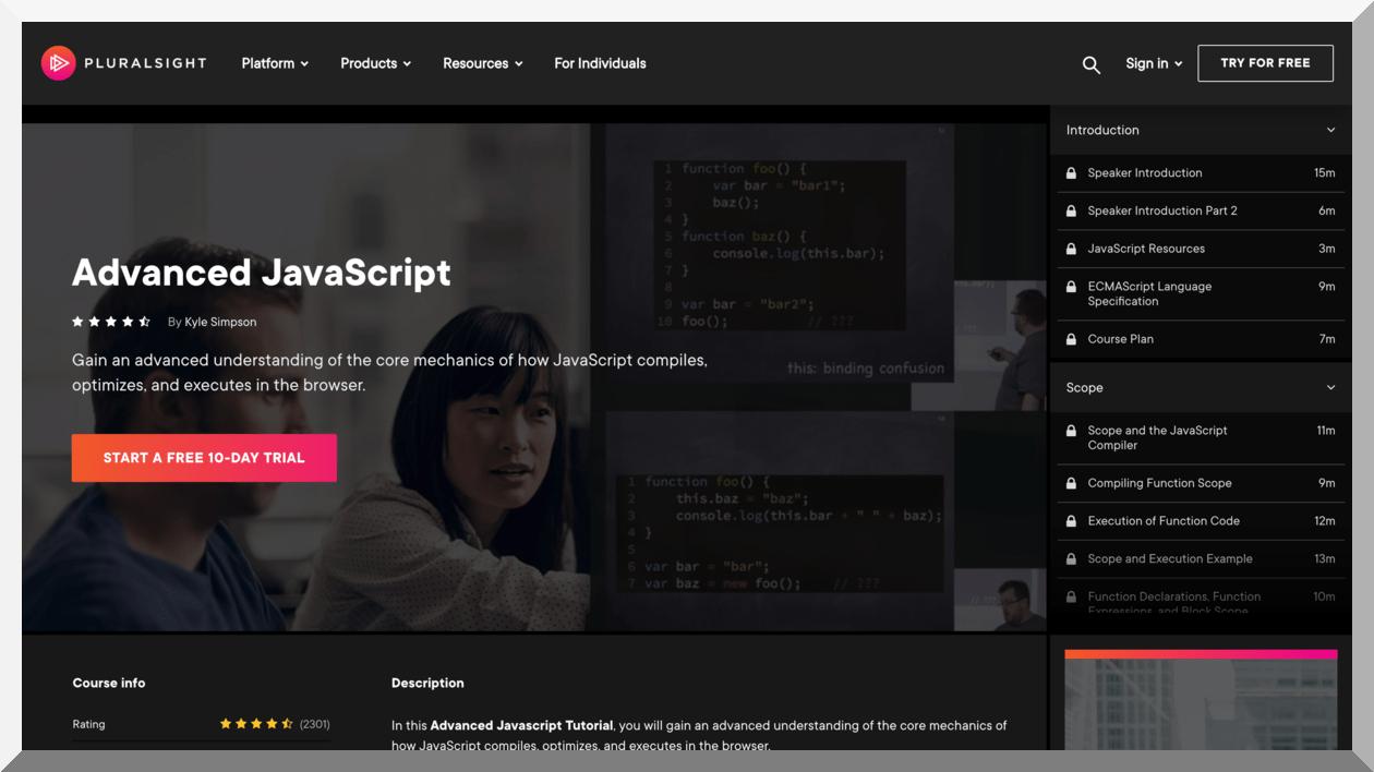 Advanced JavaScript – Pluralsight